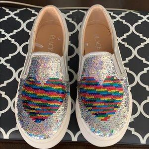 Shoes - COPY - Girls Flip Sequin Heart Metallic Slip on S…